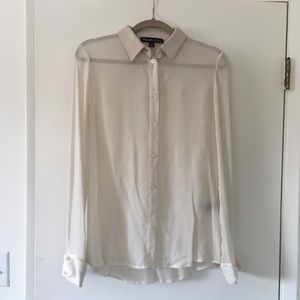Elizabeth and James Silk Blouse Leather Collar